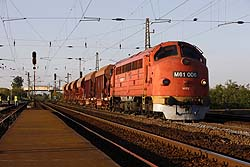 MAV Nosztalgia M61.006 provides the traction for a ballast train at Emod on 20 May 2014.