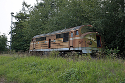 The remains of spare parts locomotive Contec Rail MX 1030 rest in Padborg (DK) on 5 September 2014.