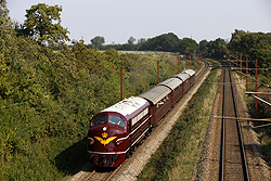 DSB Jernbanemuseet MY 1101 works a special passenger train from Odense (DK) to Tommerup (DK) just west of Odense on 6 September 2014.