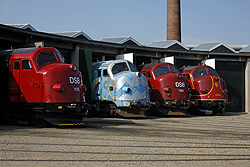 From left to right: DSB Jernbanemuseet MY 1135; MY Veterantog MY 1126; DSB Jernbanemuseet MY 1159; Altmark Rail MY 1155 at Odense DSB Jernbanemuseet on 6 September 2014.