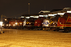 From left to right: DSB ME 1524, JBM MZ 1401, CFL Cargo MY 1146, JBM MY 1101, JBM MY 1112, MY Veterantog MY 1126, JBM MX 1001, Altmark Rail MY 1155 at Odense (DK) on 6 September 2014.