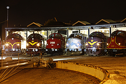 From left to right: CFL Cargo MY 1146, JBM MY 1101, JBM MY 1112, MY Veterantog MY 1126, JBM MX 1001, Altmark Rail MY 1155 at Odense (DK) on 6 September 2014.