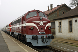 NoHAB-GM Foundation M61.010 + MAV M61.017 + 6 MAV Nosztalgia coaches before departing to Budapest with four other roundnoses at Tapolca on 22 December 2015.