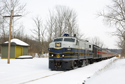 Cuyahoga Valley Scenic Railroad 800 + 12 CVSR + CVSR 1822 from Independence to Akron at Sagamore Hills on 7 March 2015.