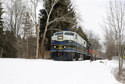 Cuyahoga Valley Scenic Railroad 800 + 12 CVSR + CVSR 1822 from Independence to Akron at Everett on 7 March 2015.