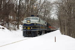 Cuyahoga Valley Scenic Railroad 800 + 12 CVSR (+ CVSR 1822) from Independence to Akron at Akron on 7 March 2015.