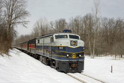 Cuyahoga Valley Scenic Railroad 800 + 12 CVSR (+ CVSR 1822) from Independence to Akron at Independence on 7 March 2015.