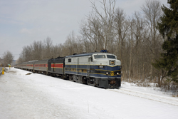 Cuyahoga Valley Scenic Railroad 800 + 12 CVSR + CVSR 1822 from Independence to Akron at Boston Mill on 7 March 2015.