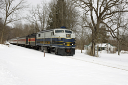 Cuyahoga Valley Scenic Railroad 800 + 12 CVSR (+ CVSR 1822) from Independence to Akron at Everett on 7 March 2015.