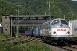Strabag 227 007 (ex-DSB MY 1147) runs empty through Bingen Hbf on 4 September 2015.