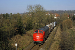 Erfurter Bahnservice MY 1131 leaves Gerstungen with photo train 69464 to Heimboldshausen on 27 February 2016.