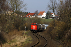 Erfurter Bahnservice MY 1131 enters the s-curve at Dankmarshausen with photo train 69464 (Gerstungen - Heimboldshausen) on 27 February 2016.