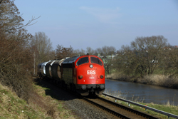 Erfurter Bahnservice MY 1131 runs alongside the Werra River at Heringen with photo train 69464 (Gerstungen - Heimboldshausen) on 27 February 2016.