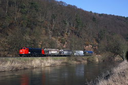 Erfurter Bahnservice MY 1131 runs alongside the Werra River at Harnrode with photo train 69464 (Gerstungen - Heimboldshausen) on 27 February 2016.