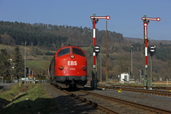 Erfurter Bahnservice MY 1131 arrives at Heimboldshausen with photo train 69464 from Gerstungen on 27 February 2016.
