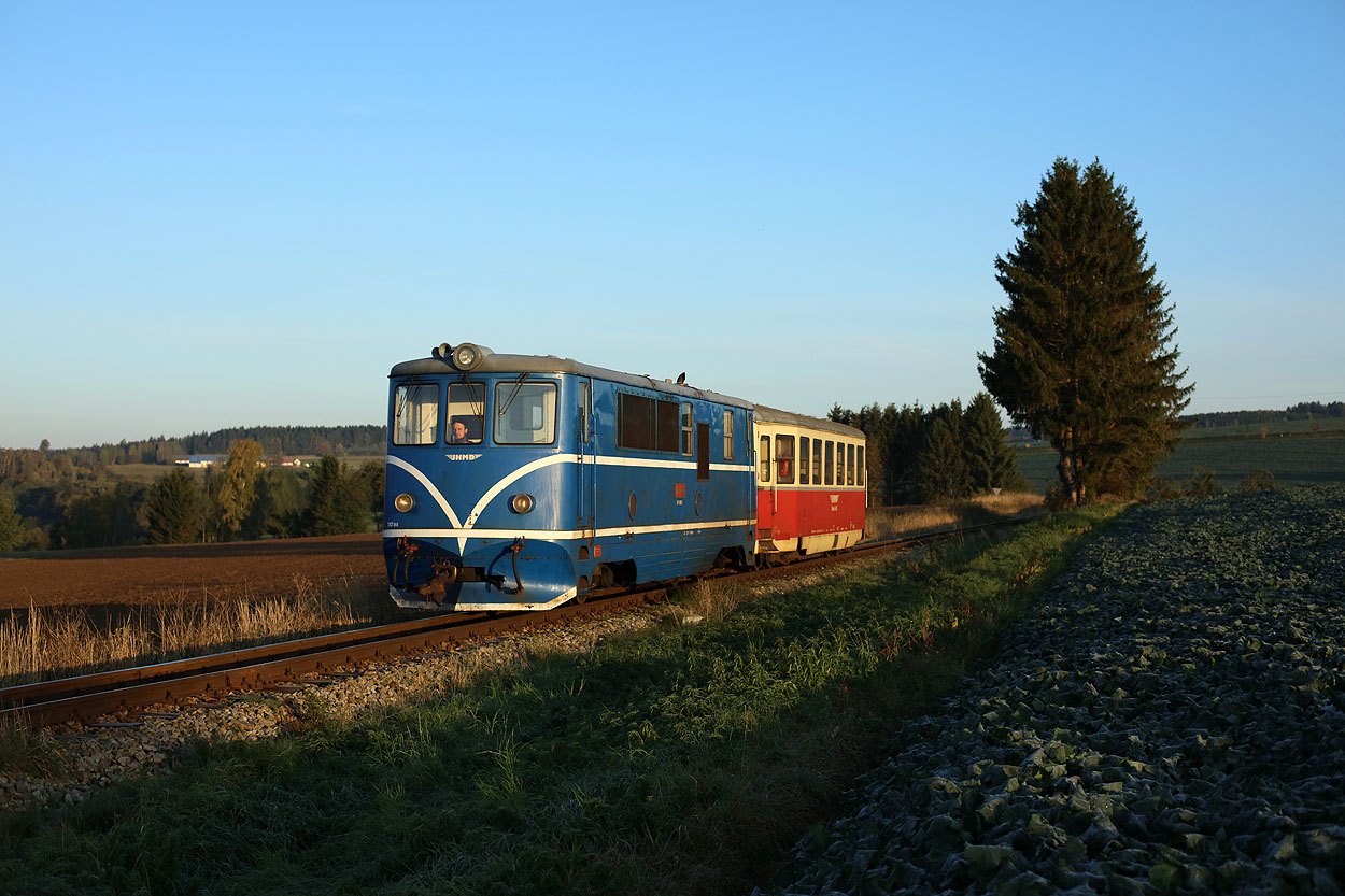 Lights on. The ground is still frozen. JHMD T47 015 hauls one coach as train 21203 (Obratan, CZ - Jindrichuv Hradec, CZ) at Gabrielka (CZ) on 7 October 2019.