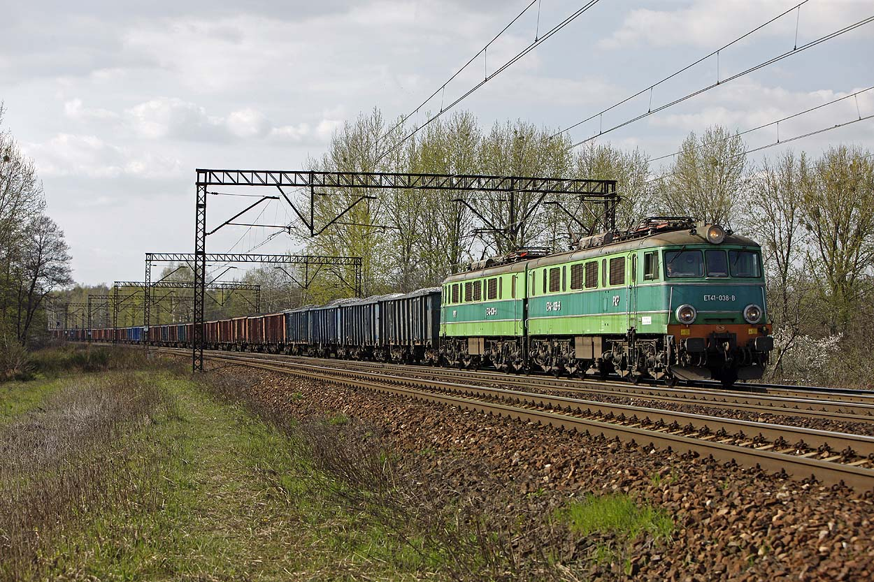 PKP Cargo ET41-08 hauls an east bound coal train at Gliwice Labedy on 19 April 2011.